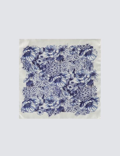 Einstecktuch aus Seide – weiß blau florales Motiv