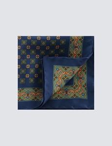 Einstecktuch aus Seide – navy grün Ornamente