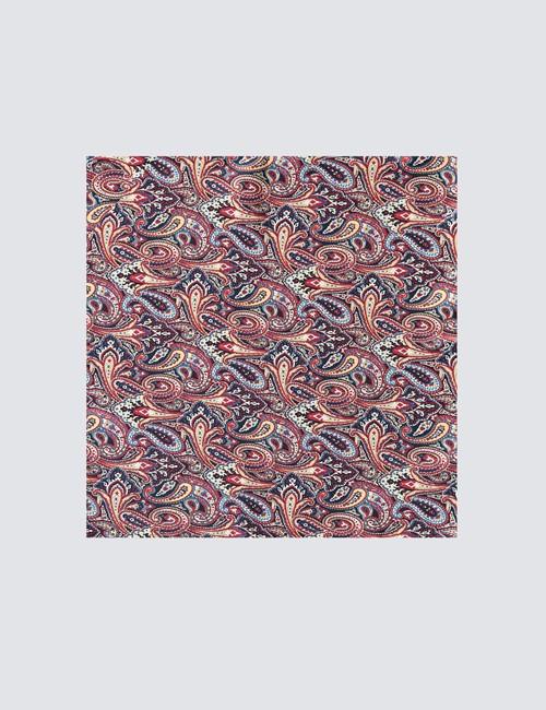 Men's Luxury Navy & Red Paisley Handkerchief - 100% Silk