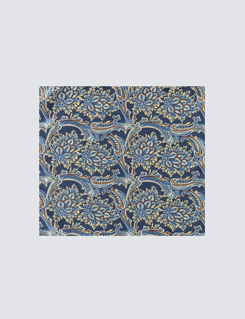 Men's Luxury Navy & Brown Paisley Handkerchief - 100% Silk