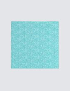 Men's Luxury Turquoise Paisley Handkerchief - 100% Silk