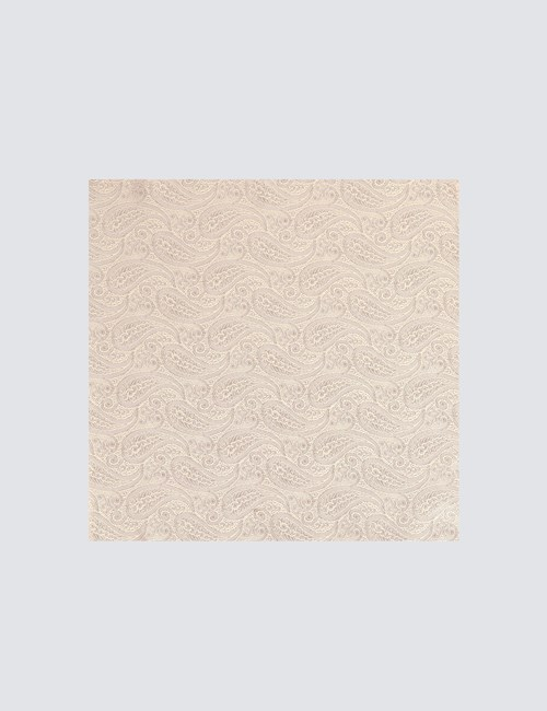 Men's Luxury Cream Paisley Handkerchief - 100% Silk