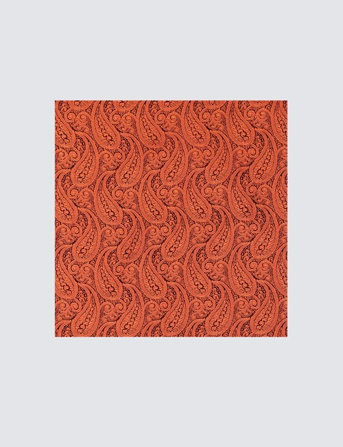 Men's Luxury Orange Paisley Handkerchief - 100% Silk
