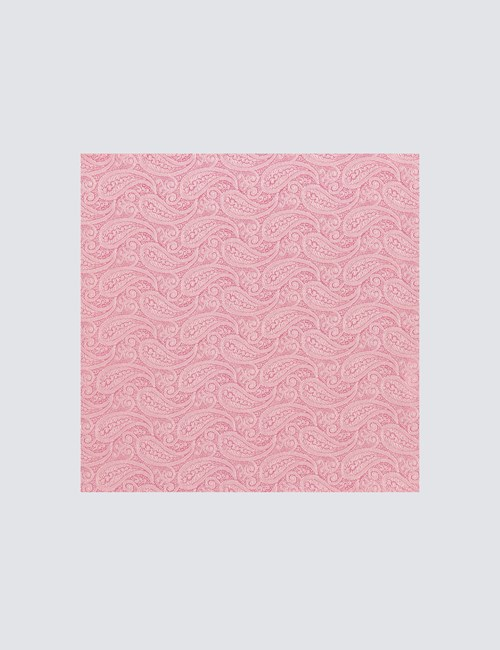 Men's Luxury Pink Paisley Handkerchief - 100% Silk