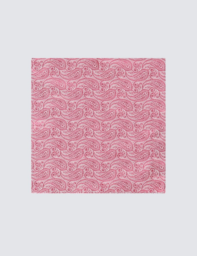 Men's Luxury Rose Paisley Handkerchief - 100% Silk
