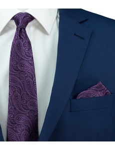 Men's Purple Paisley Pocket Square - 100% Silk