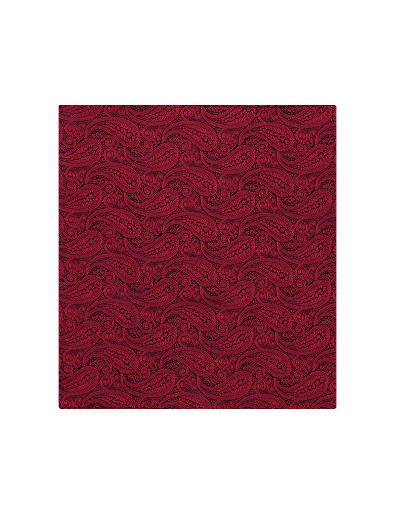 Men's Red Paisley Pocket Square - 100% Silk