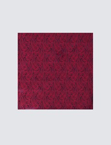 Men's Luxury Burgundy Paisley Handkerchief - 100% Silk