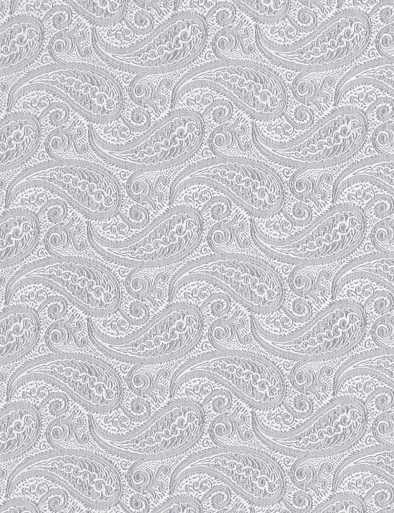 Men's Silver Paisley Pocket Square- 100% Silk