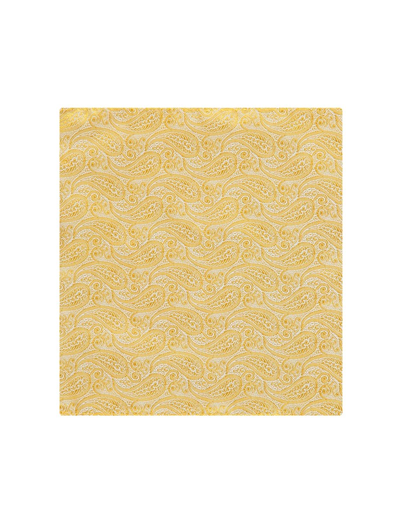 Men's Yellow Paisley Pocket Square - 100% Silk