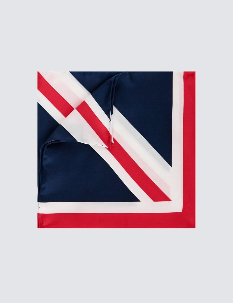 Men's Red & White Union Jack Design Pocket Square - 100% Silk