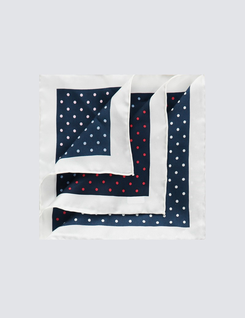 Men's Navy 4 Way Spot Pocket Square - 100% Silk
