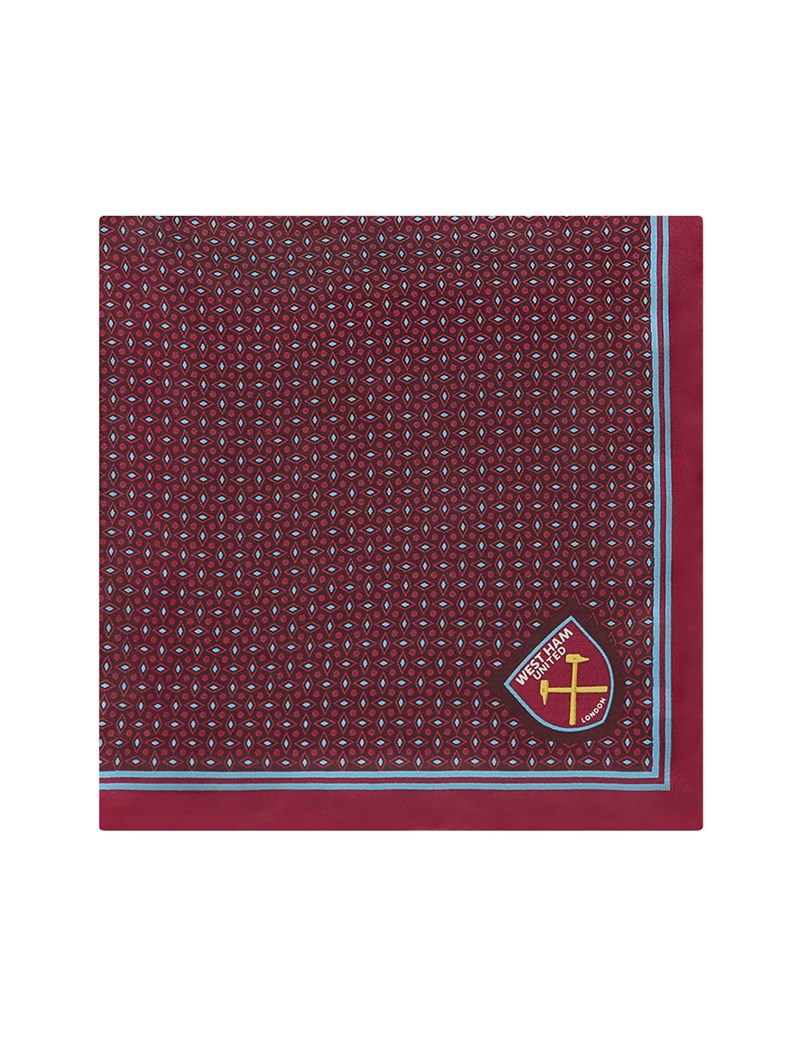 Men's Claret and Blue West Ham Pocket Square - 100% Silk