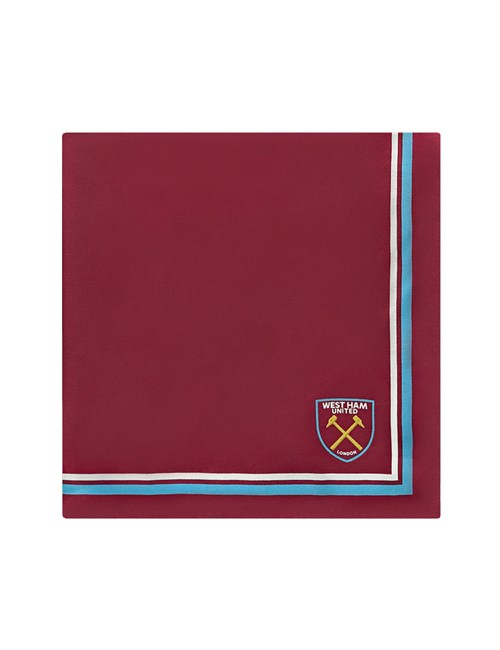 Men's Claret, Blue and White West Ham Pocket Square - 100% Silk