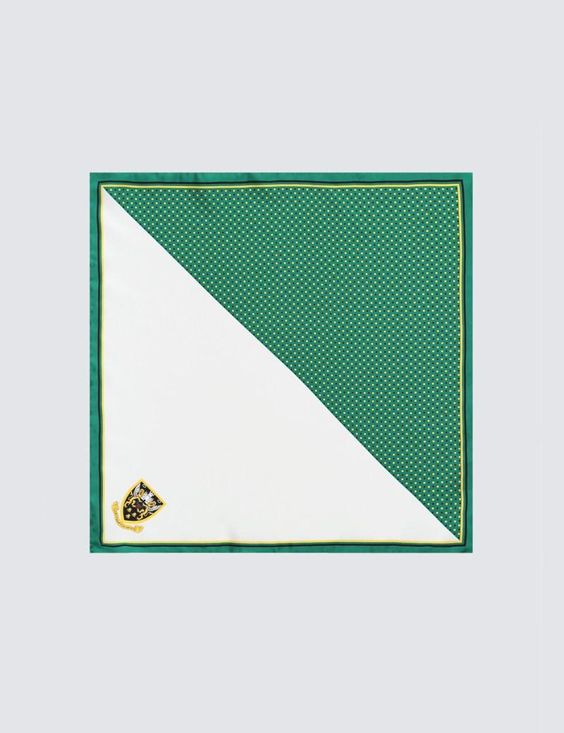Men's Green, Black & Gold Northampton Saints Pocket Square - 100% Silk