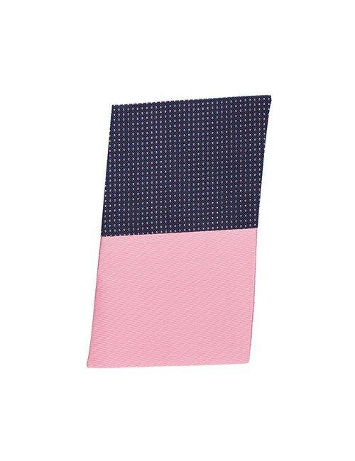 Navy & Light Pink Pin Dot Pocket Square - 100% Silk