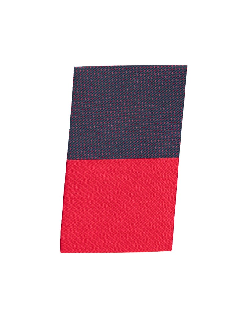 Navy & Red Pin Dot Pocket Square - 100% Silk