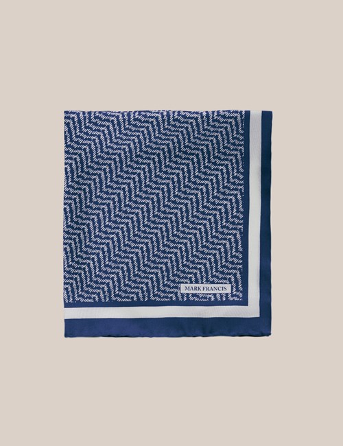 Men's Blue & White Herringbone Print Pocket Square - 100% Silk - Mark Francis Collection