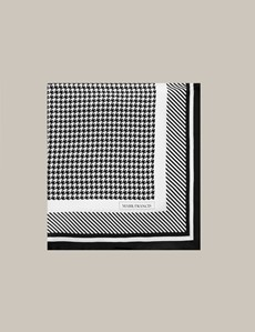 Men's Black & White Dogtooth Silk Pocket Square
