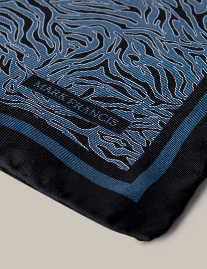 Men's Blue Print Silk Pocket Square