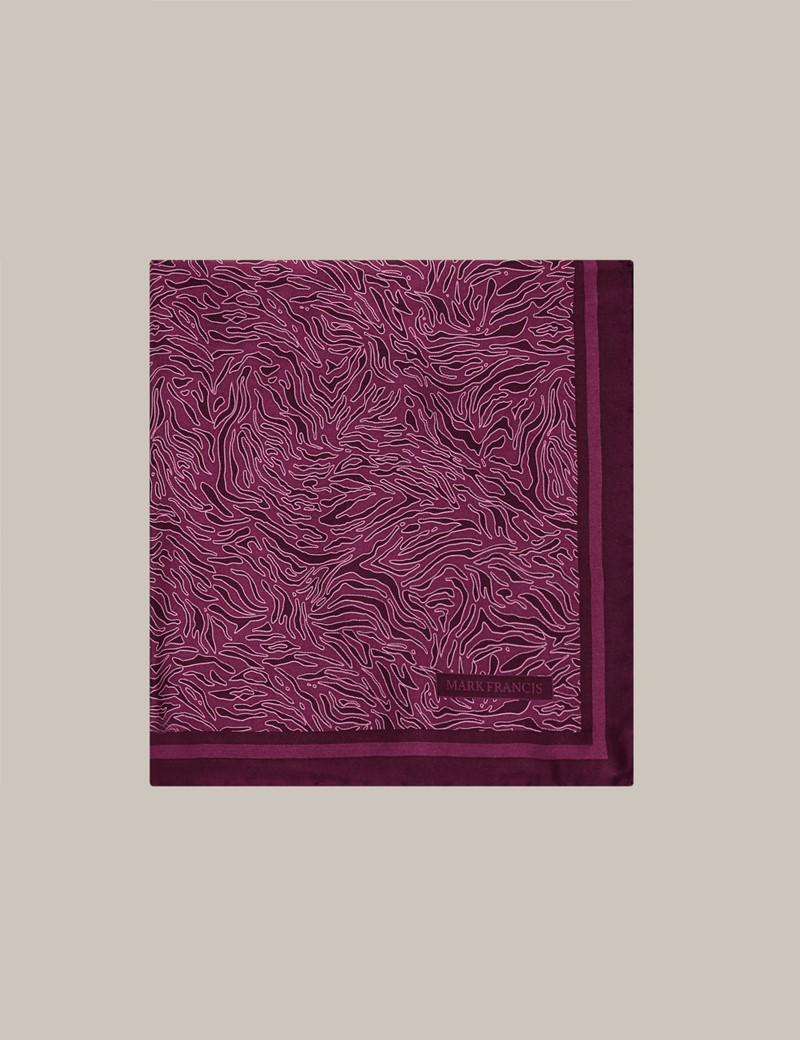 Mark Francis Kollektion - Einstecktuch aus Seide - Fuchsia bedruckt