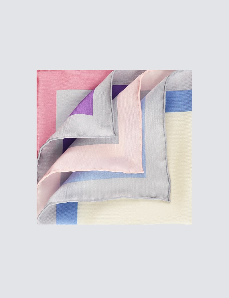 Men's White & Grey 4 Way Edged Pocket Square - 100% Silk