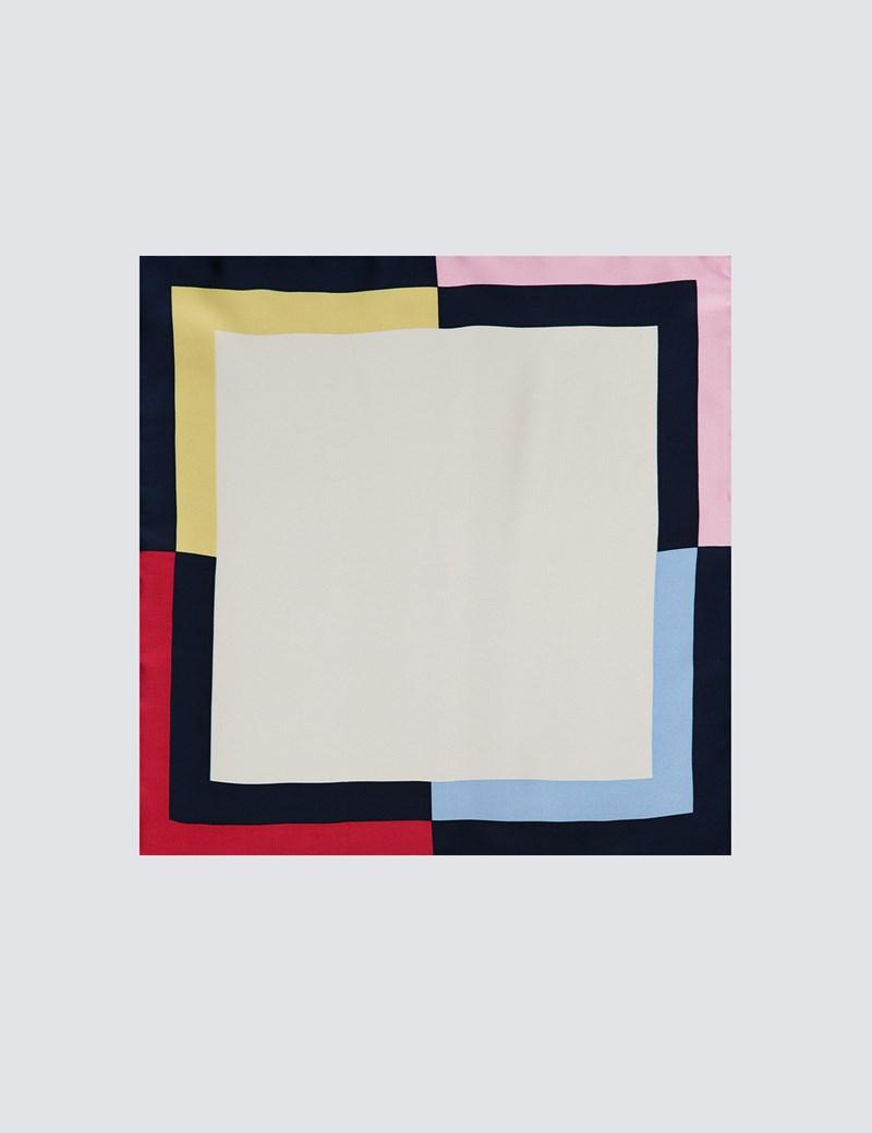 Men's White & Navy 4 Way Edged Pocket Square - 100% Silk