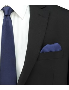 Men's Navy Pocket Square - 100% Silk