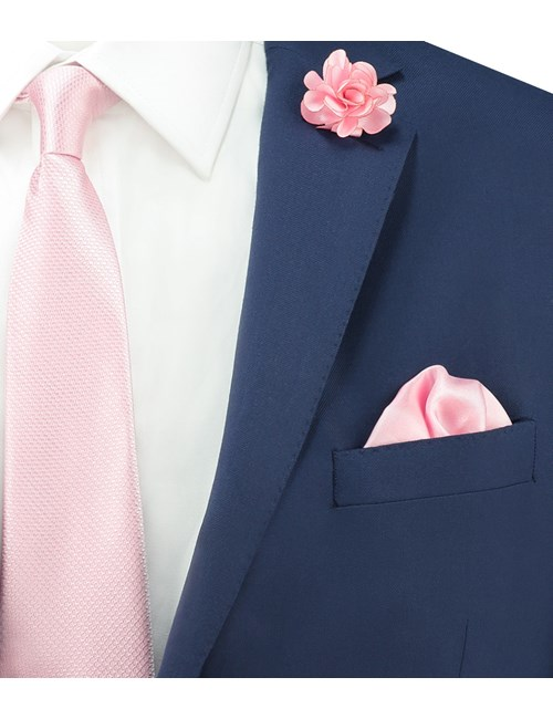 Men's Pink Pocket Square - 100% Silk