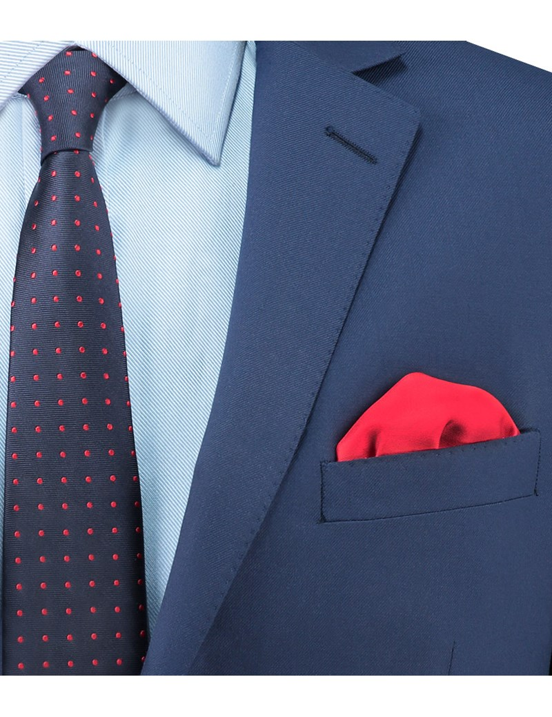 Men's Red Pocket Square- 100% Silk