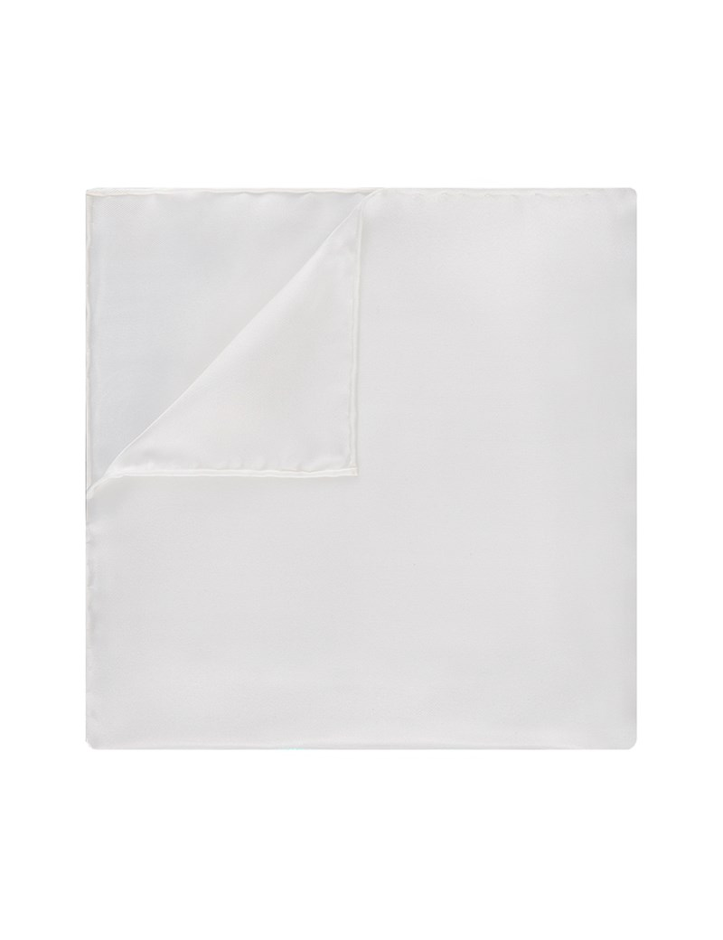 Men's White Pocket Square - 100% Silk