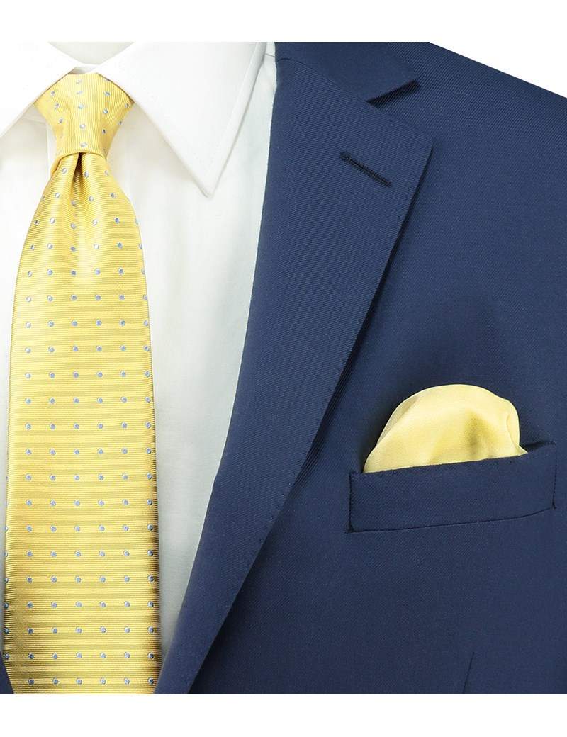 Men's Yellow Pocket Square - 100% Silk