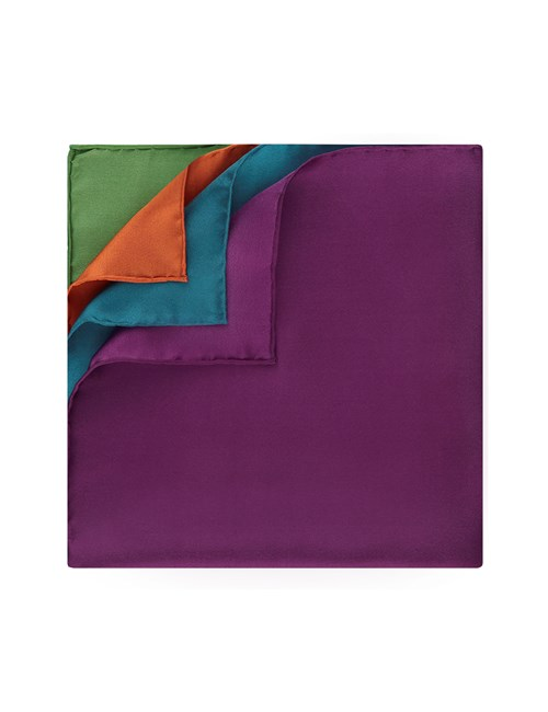 Men's Orange & Green 4 Way Pocket Square - 100% Silk