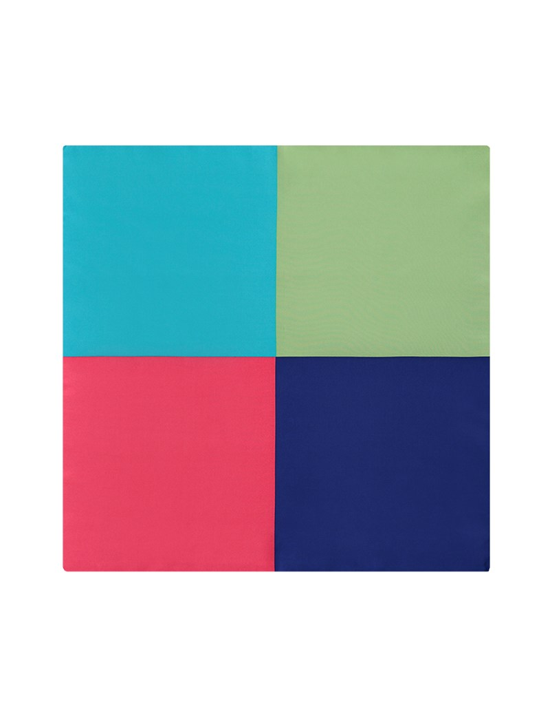 Men's Coral & Turquoise 4 Way Plain Pocket Square - 100% Silk