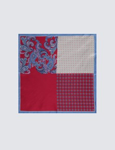 Men's Red & Blue Bold Paisley 4 Way Pocket Square - 100% Silk
