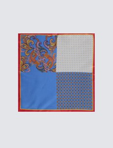 Men's Blue & Orange Bright Paisley 4 Way Pocket Square - 100% Silk