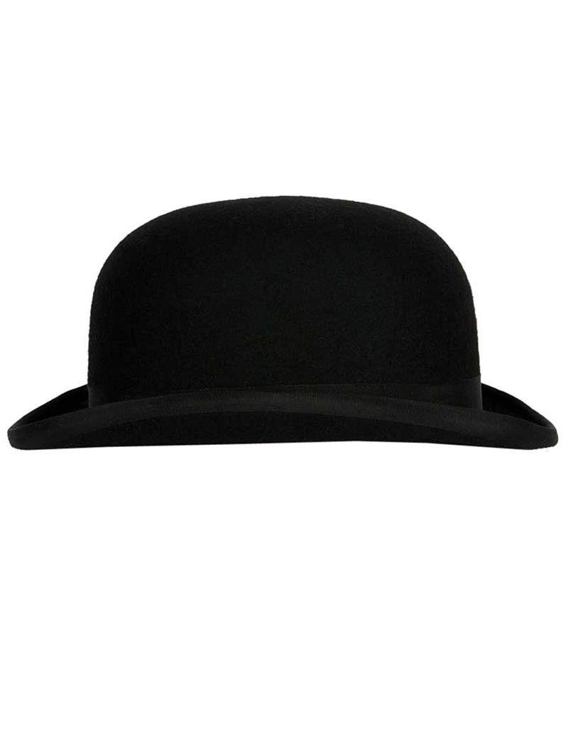 WT06 Mens Black Fashion Bowler With Hat Box 57cm Medium