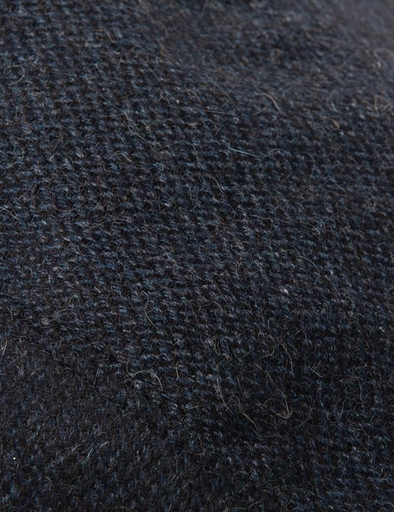 Schiebermütze - Fischgrat Tweed - Blau