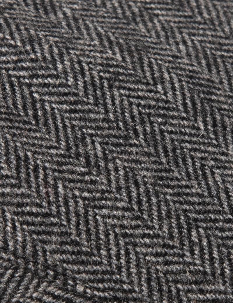 Schiebermütze - Fischgrat Tweed - Grau