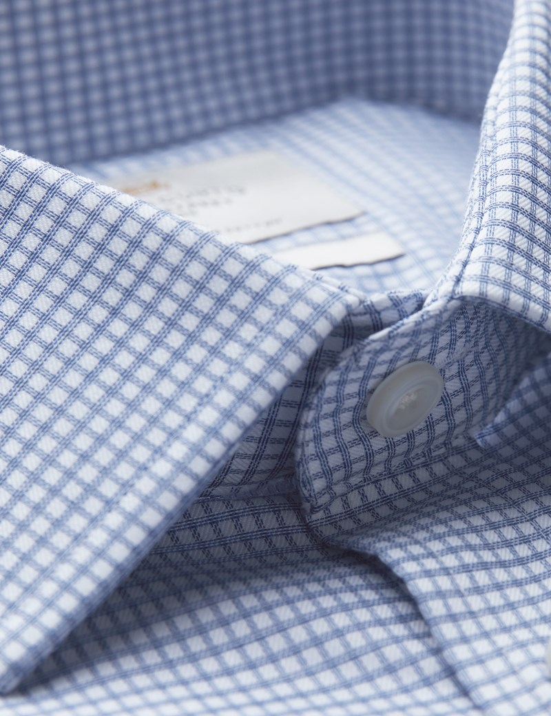 Men's Formal Blue & White Small Check Fitted Slim Shirt - Single Cuff - Easy Iron