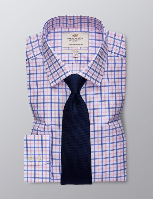 Men's Dress Pink & Blue Multi Plaid Fitted Slim Shirt - Single Cuff - Easy Iron