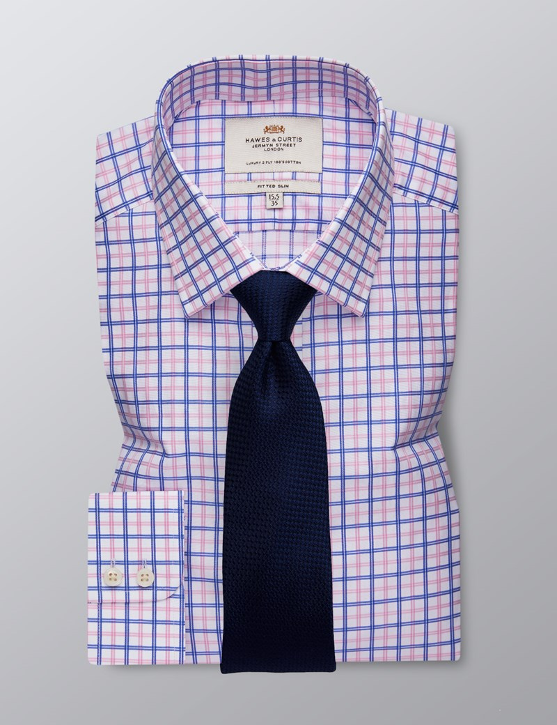 Men's Formal Pink & Blue Multi Check Fitted Slim Shirt - Single Cuff - Easy Iron