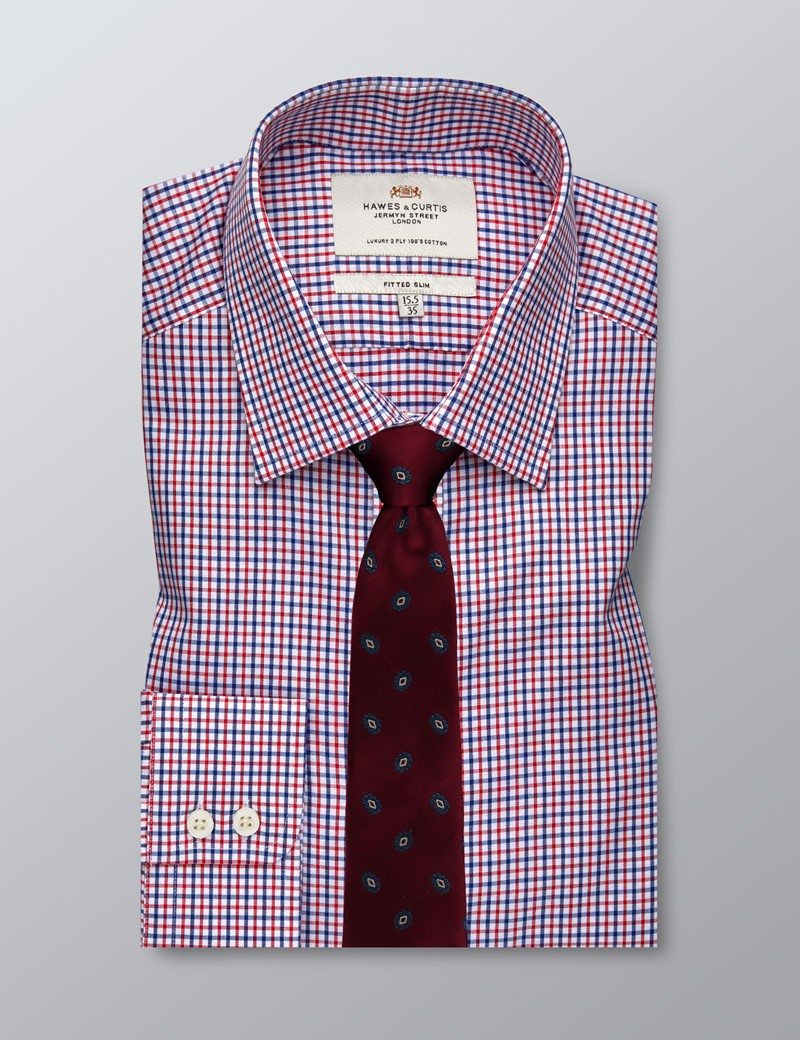 Men's Business Red & Blue Multi Check Fitted Slim Shirt - Single Cuff - Easy Iron