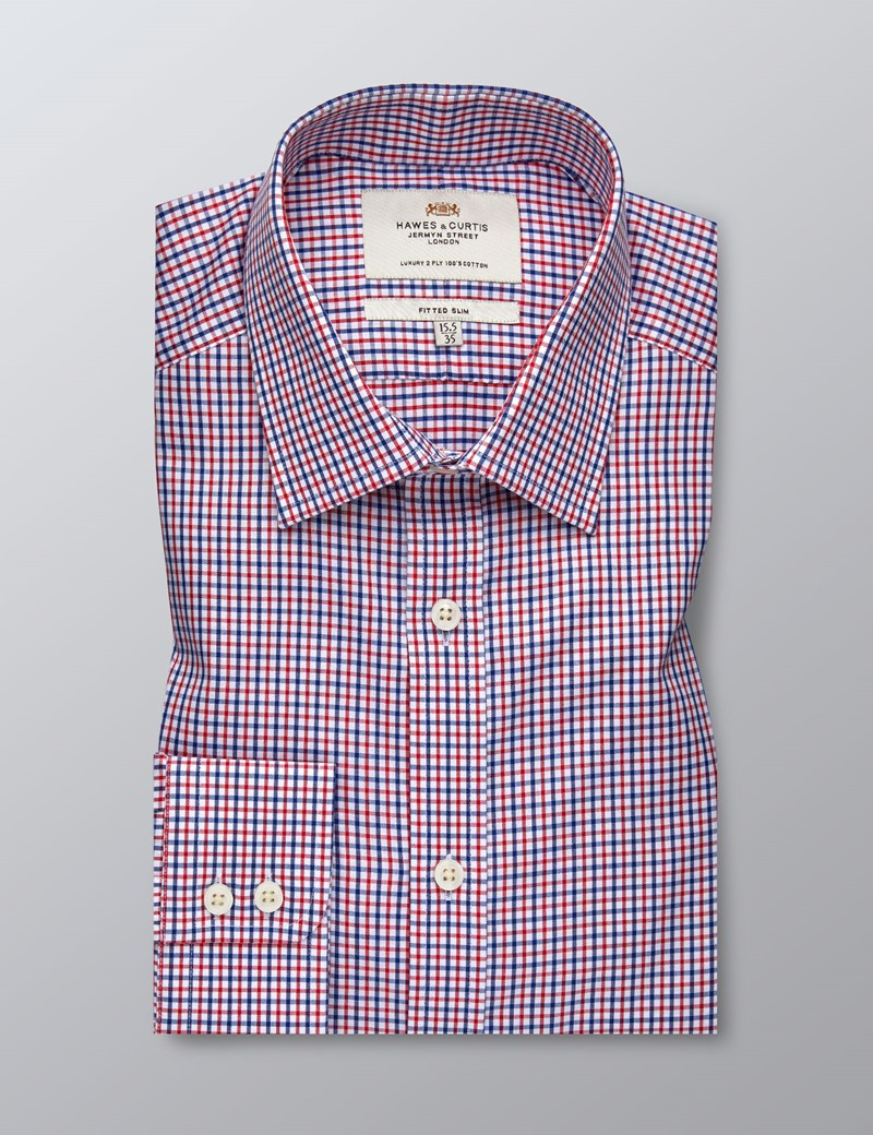 Men's Formal Red & Blue Multi Check Fitted Slim Shirt - Single Cuff - Easy Iron