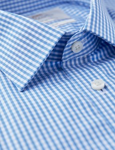 Businesshemd – Slim Fit – Kentkragen – Gingham Karo blau & weiß