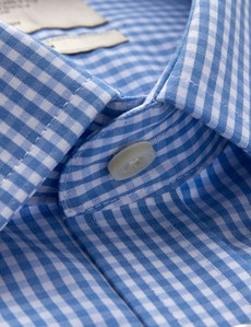 Men's Business Blue & White Gingham Check Fitted Slim Shirt - Single Cuff - Non Iron