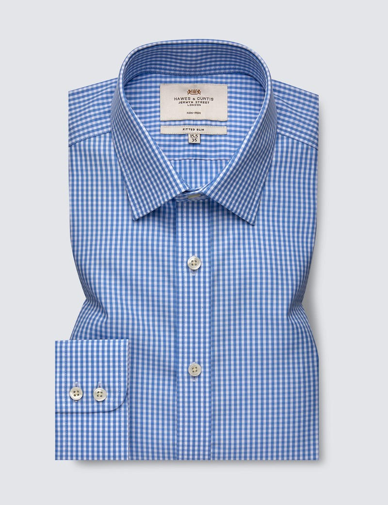 Men's Formal Blue & White Gingham Check Fitted Slim Shirt - Single Cuff - Non Iron