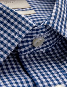 Men's Business Navy & White Check Fitted Slim Shirt - Single Cuff - Non Iron