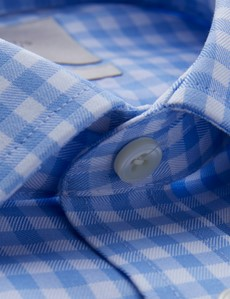 Men's Dress Blue & White Gingham Plaid Fitted Slim Shirt - Single Cuff - Non Iron