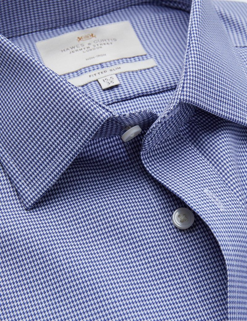 Non Iron Navy & White Dogstooth Fitted Slim Shirt - Single Cuff